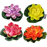 TIED RIBBONS Set of 4 Artificial Floating Lotus Flowers with Rubber Leaf for Outdoor inddoor Home Decoration - Set of 4 (Multicolor)