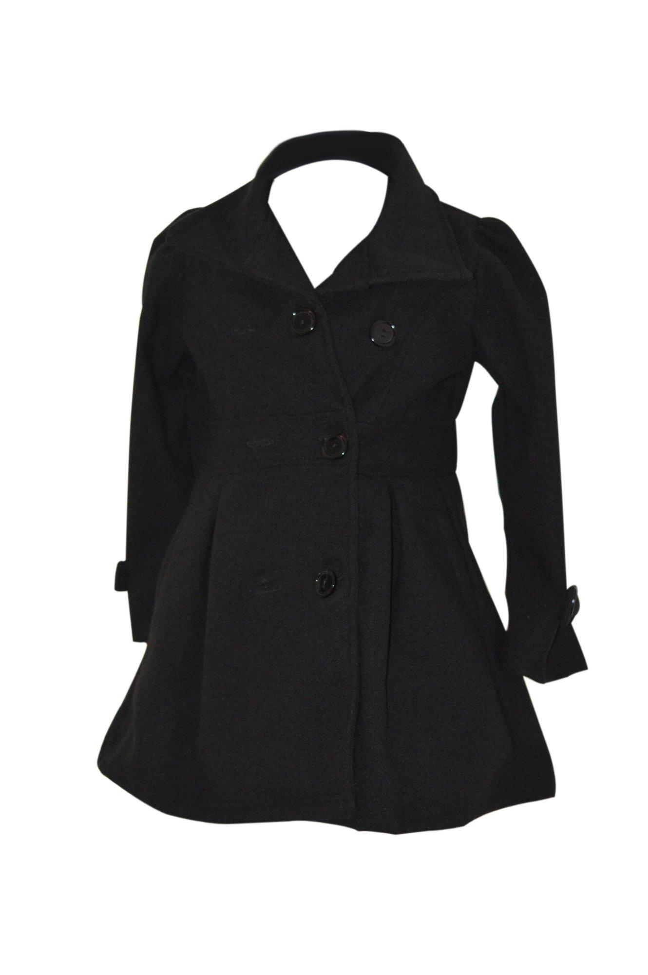 Pea Coat for Girls (Size 8, Black)