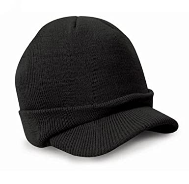 dec0369d6fd Malloom Esco Peaked Army Beanie Hat Warm Wooly Winter Mens Ladies Cadet Ski  Cap (Black)  Amazon.co.uk  Clothing