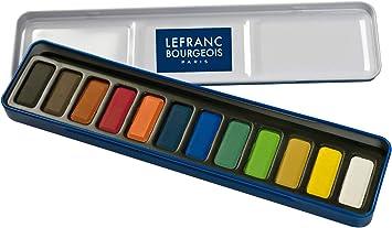 Lefranc Bourgeois - Caja metálica con 12 pastillas de acuarelas: Amazon.es: Juguetes y juegos