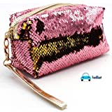 FunBlast Sequin Pouch - Pen & Pencil Pouch | Keys Pouch, Gifts Makeup, Cosmetic Changeable Color Pouch for Girls and Ladies. (Rose Pink)