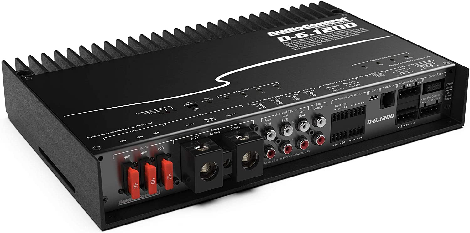 AudioControl D-6.1200 6-Channel Car Amplifier with Digital Signal Processing /& ACR-3 Dash Remote