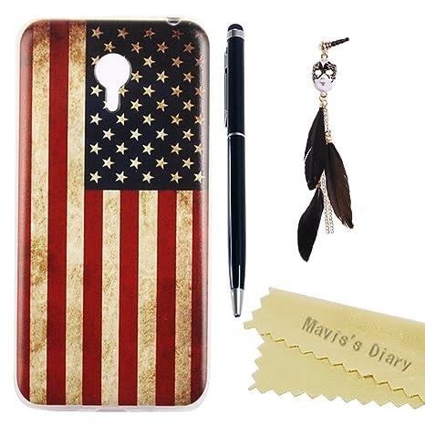 Maviss Diary Meizu M2 Note Funda Silicona de Gel TPU Case Suave Funda para Móvil Carcasa Resistente a los Arañazos Diseño de Bandera Americana