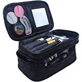 Relavel Makeup Bag for Women with Mirror 2 Layer Large Makeup Brushes Bags Cosmetic Bag Organizer Professional 2 layer Makeup Pouch for Travel Home (black large)