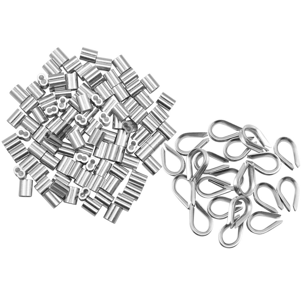 Dreamtop 100 pcs 1/16-inch Aluminum Wire Rope Sleeves Clips Aluminium Cable Crimps + 20 pcs M2 Stainless Steel Thimble