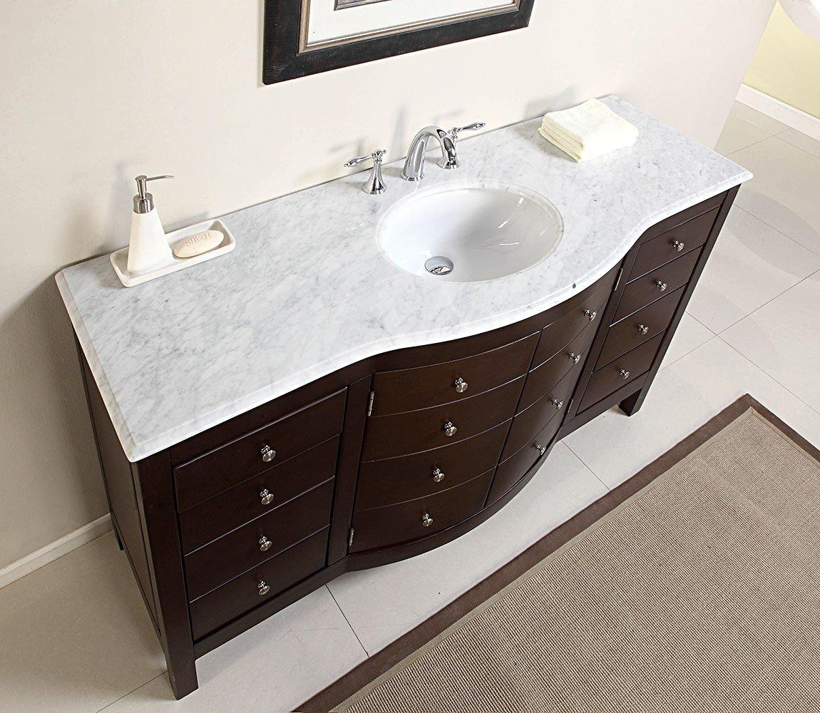 60 Single Sink Carrara White Marble Top Bathroom Vanity Cabinet Furniture 274wm Amazon Com