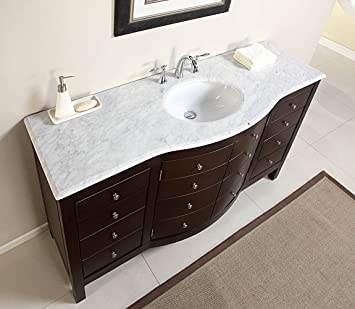 60u0026quot; Single Sink Carrara White Marble Top Bathroom Vanity Cabinet  Furniture 274WM