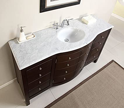 60 single sink carrara white marble top bathroom vanity cabinet rh amazon com gray bathroom vanity with marble top bathroom vanity with carrera marble top