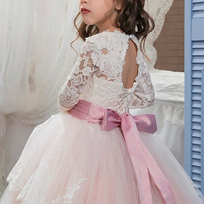 Amazon.com: IBTOM CASTLE Little Big Girl Lace up Long Sleeves Pageant Flower Girl First Communion Dress Wedding Formal Party Ball Gown: Clothing
