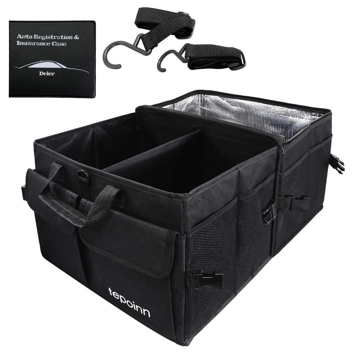 Tepoinn Car Trunk Organizer with Cooler, Compartment Collapsible Portable Trunk Storage Container with Non Slip Bottom Strips, Foldable Waterproof Cover Car Storage Box for SUV by Tepoinn