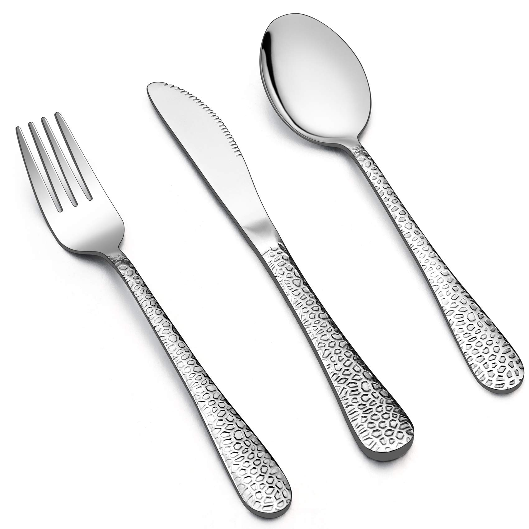LIANYU 12-Piece Kids Utensils Silverware Set, Stainless Steel Toddler Hammered Flatware Cutlery, Children Tableware Includes Knives Forks Spoons, Dishwasher Safe by LIANYU