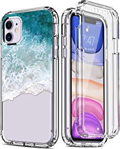 """IKAZZ iPhone 11 Case with Built-in Screen Protector,Clear TPU Bumper Cover with Fashionable Floral Designs for Girls Women,Slim Fit Protective Phone Case for Apple iPhone 11 6.1"""" Seawaves"""