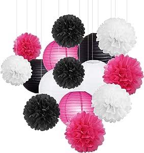 15Pcs White Pink Black Party Decoration Paper Lanterns Paper Pompoms Balls Hanging Decoration Backdrop for Baby Shower Birthday Party Decor Wedding Bridal Shower Centerpieces Home Decor Graduation