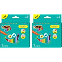 BIC Kids Triangular Coloring Crayons, Assorted Colors, 2 Packs of 10 Wrap-Free Crayons (BKPCT20E-AST)