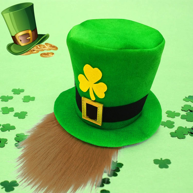 Patricks Day Accessories Green Leprechaun Top Hat with Brown Beard for Men Women Teens Patricks Party Hat St 2 Pack St Shamrocks Velvet Irish Day Costume Party Supplies Favors