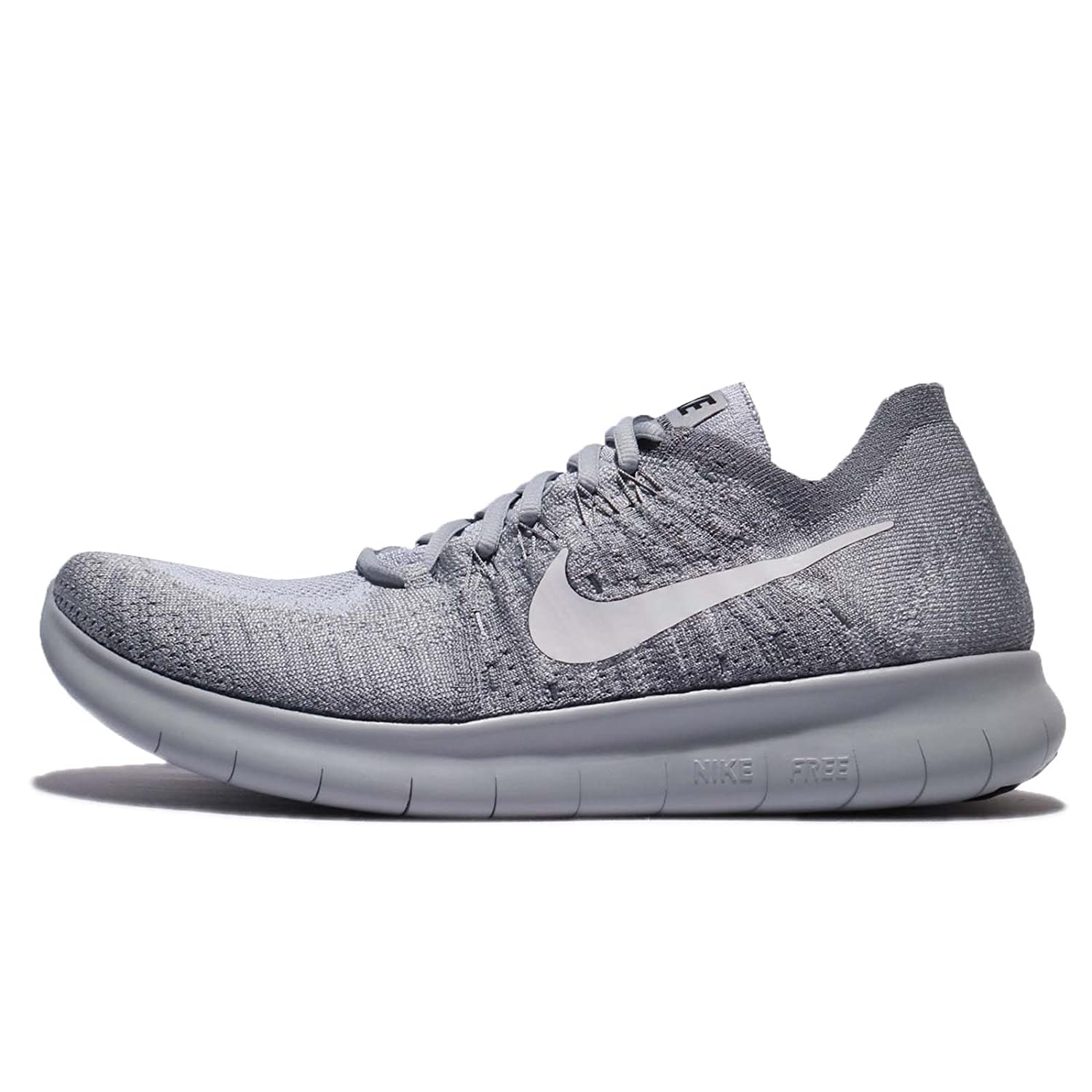 Nike Mens Free RN Flyknit 2017 Running Shoes (9.5 Wolf Grey/White-M)