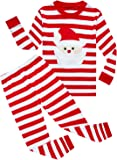 Family Feeling Little Boys Girls' Red Stripe Christmas Pjs Cotton Pajama Sets