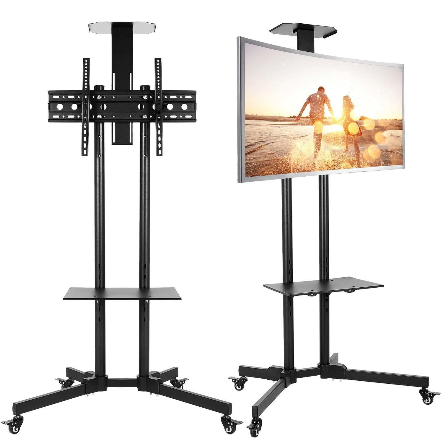 Leoneva Flat Panel Steel Rolling TV Stand with Adjustable TV Cart Shelf, Lockable Wheels and 32''-65'' Mobile Screen LCD LED Plasma