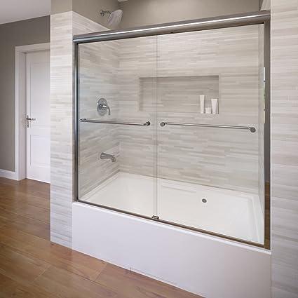 Basco Celesta Semi Frameless Sliding Tub Door Fits 56 60 Inch
