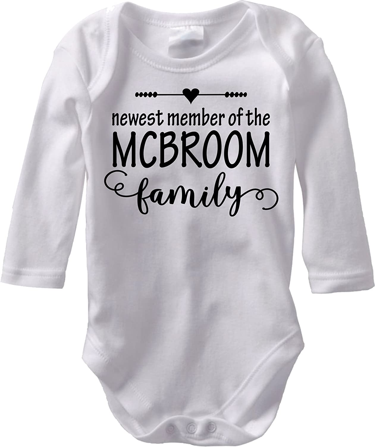 The Newest Member - Custom Baby Name Birth Announcement (Long Sleeve Cotton Bodysuit)