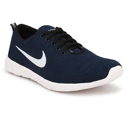 PALKLOUIS Men's Navy Mesh Sports Shoes