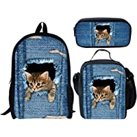 DeePrint Dinosaur 17 Inch Backpack School Bags Book Bags Lightweight Durable Daypack for Kids Girls