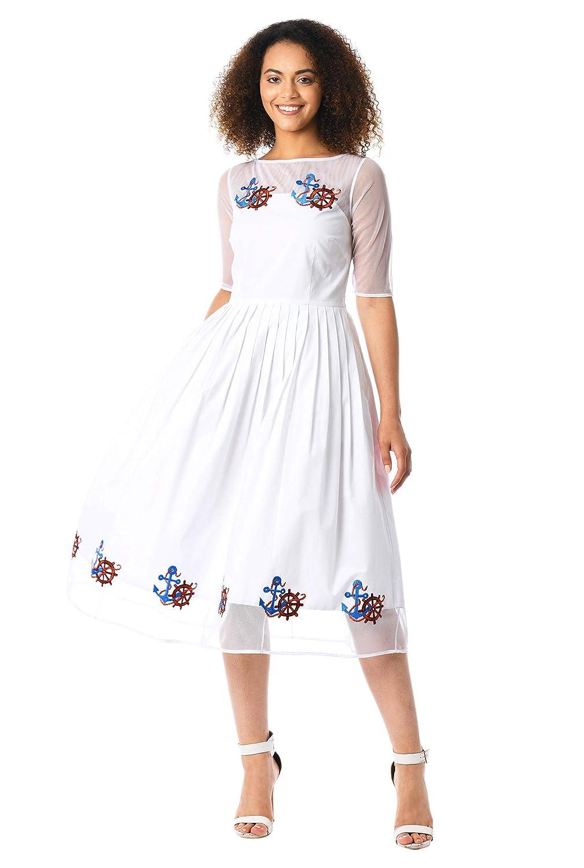 Pin Up Dresses | Pinup Clothing & Fashion eShakti Womens Illusion Nautical Embellished poplin Dress $89.95 AT vintagedancer.com
