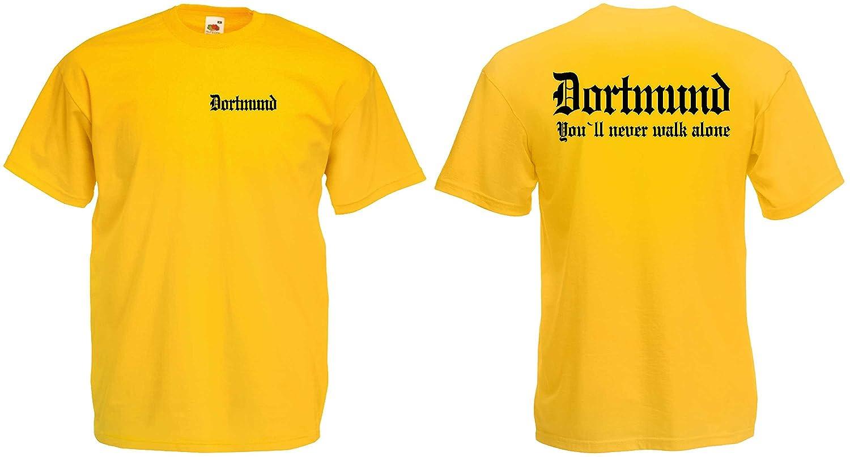 Fruit of the Loom Dortmund T-Shirt Ultras Ruhrpott Hooligan Never Walk Alone
