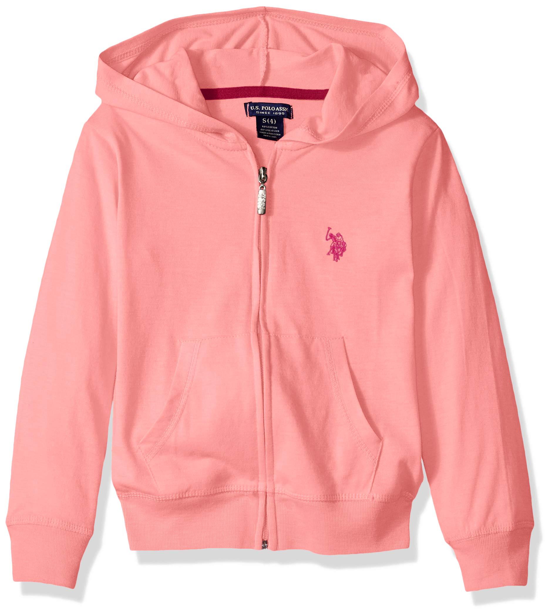 U.S. Polo Assn. Girls' Little Long Sleeve Jersey Hoodie, as Zip up Peach, 4