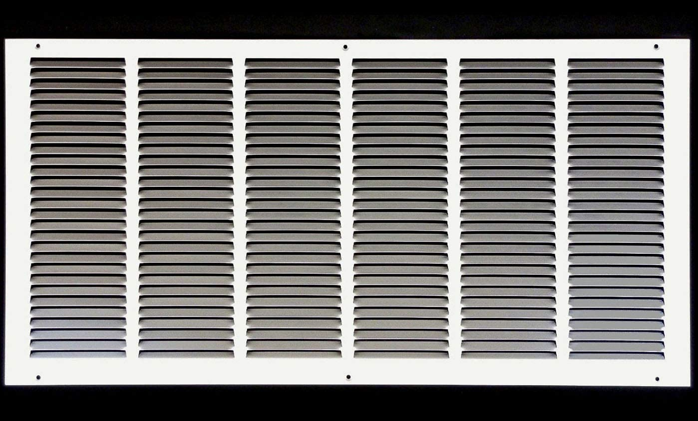 "26""w X 14""h Steel Return Air Grilles - Sidewall and Ceiling - HVAC Duct Cover - White [Outer Dimensions: 27.75""w X 15.75""h]"
