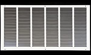 """26"""" x 10"""" Return Air Grille - Sidewall and Ceiling - HVAC Vent Duct Cover Diffuser - [White] [Outer Dimensions: 27.75w X 11.75""""h]"""