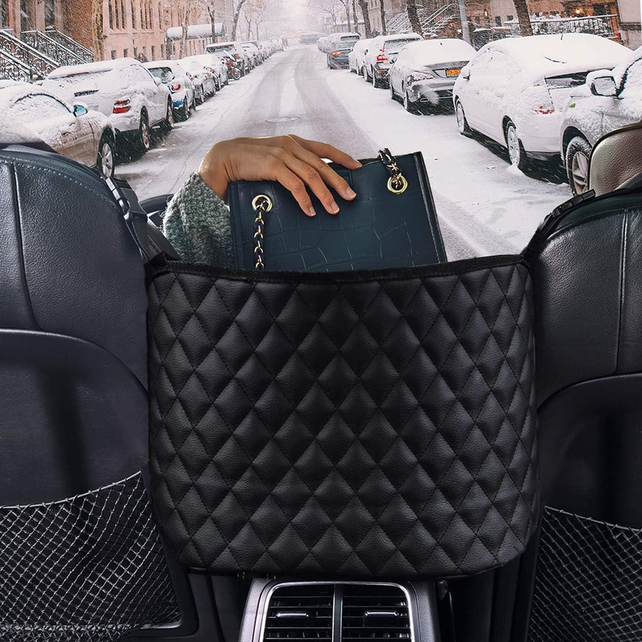 Car Back Seat Organizer, Hipada Car Net Pocket Handbag Holder, Barrier of Backseat Pet Kids, Car Purse Storage and Pocket, Driver Storage Netting Pouch, Car Storage For Purse Phone Documents (Black)