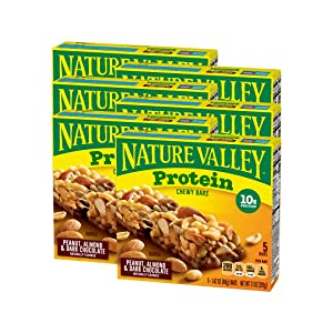Nature Valley Chewy Granola Bar, Protein, Peanut, Almond and Dark Chocolate, Gluten Free (Pack of 6)