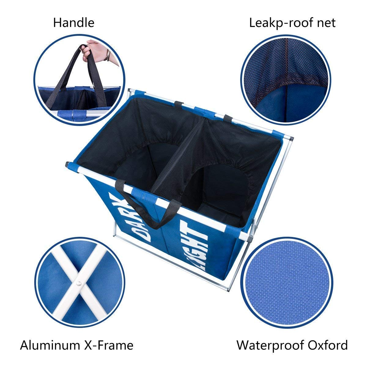 WISHPOOL 2 Sections Laundry Hamper Bag with Aluminium X-Frame Double Laundry Basket Durable Dirty Clothes Hamper for College Apartment Home Use(Blue)