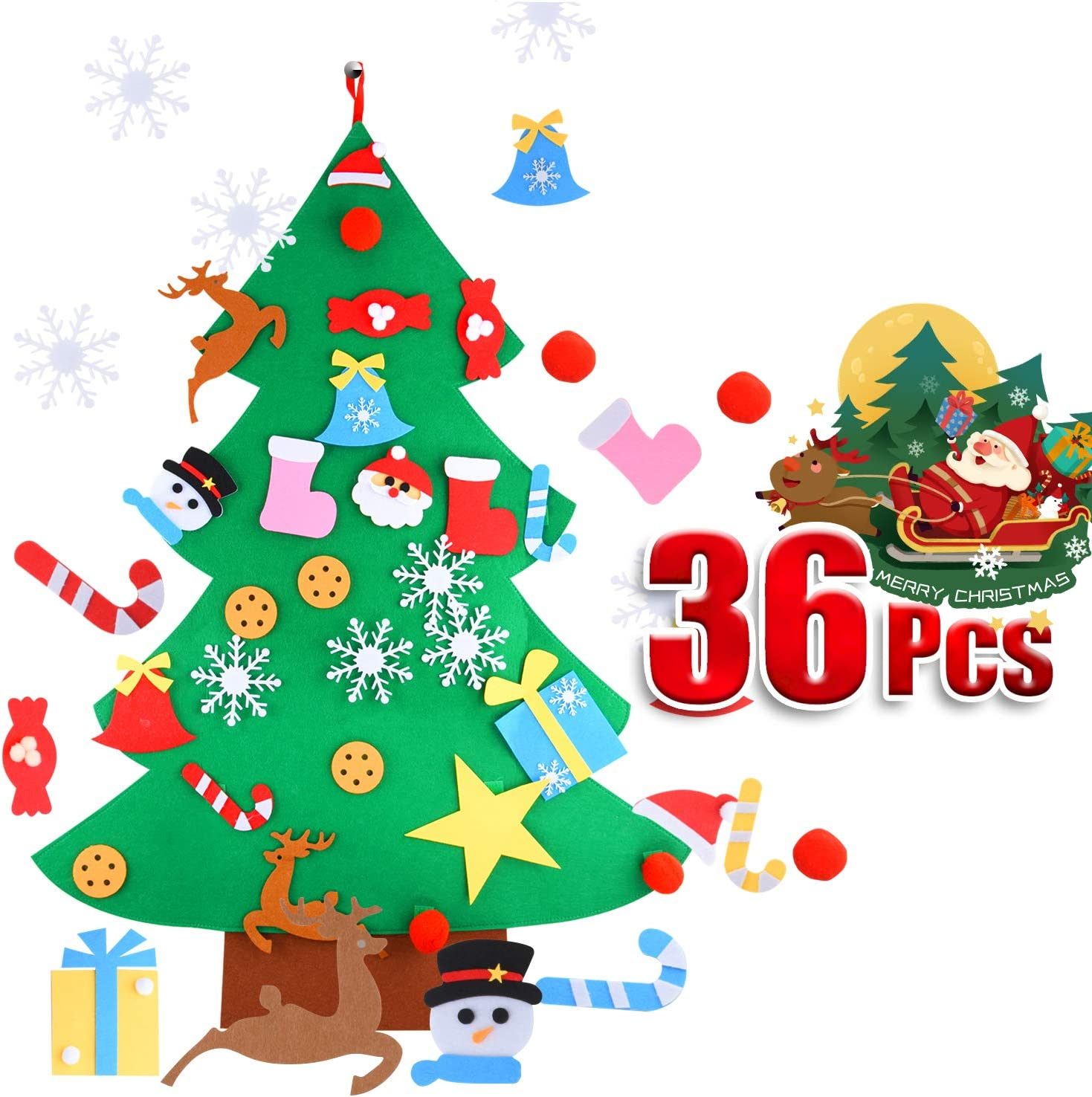 HOTCOK Felt Christmas Tree,3.7ft DIY Christmas Tree with 36pcs Detachable Ornaments,Wall Hanging Xmas Gifts Decorations for Kids