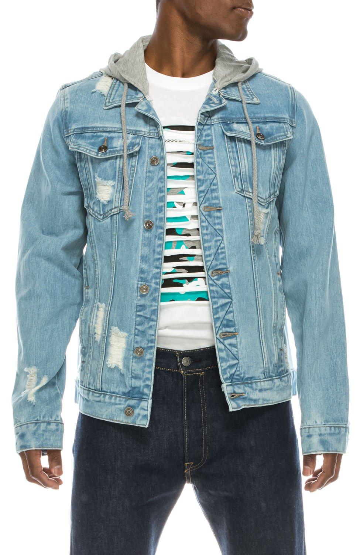 UPSCALE Men's Distressed Denim Jacket w/Removable Hood LightBlue M