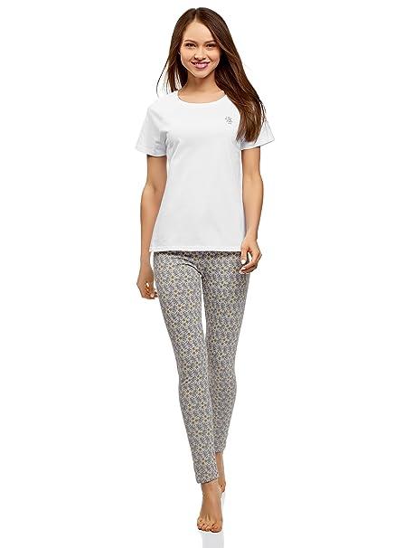 oodji Ultra Mujer Pijama de Algodón con Mallas, Gris, ES 36 / XS