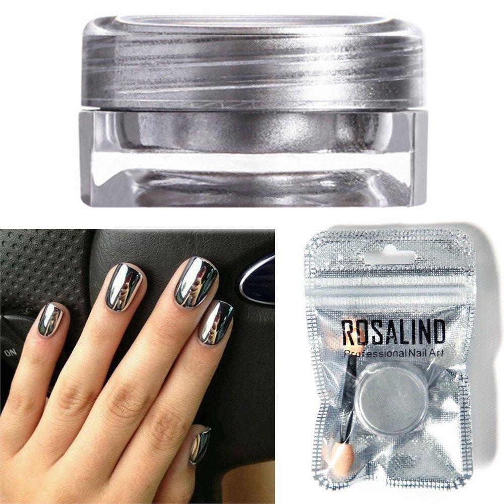 JonerytimeRosalind Women Mirror Powder Effect Chrome Nails Pigment Gel Polish DIY (Silver)