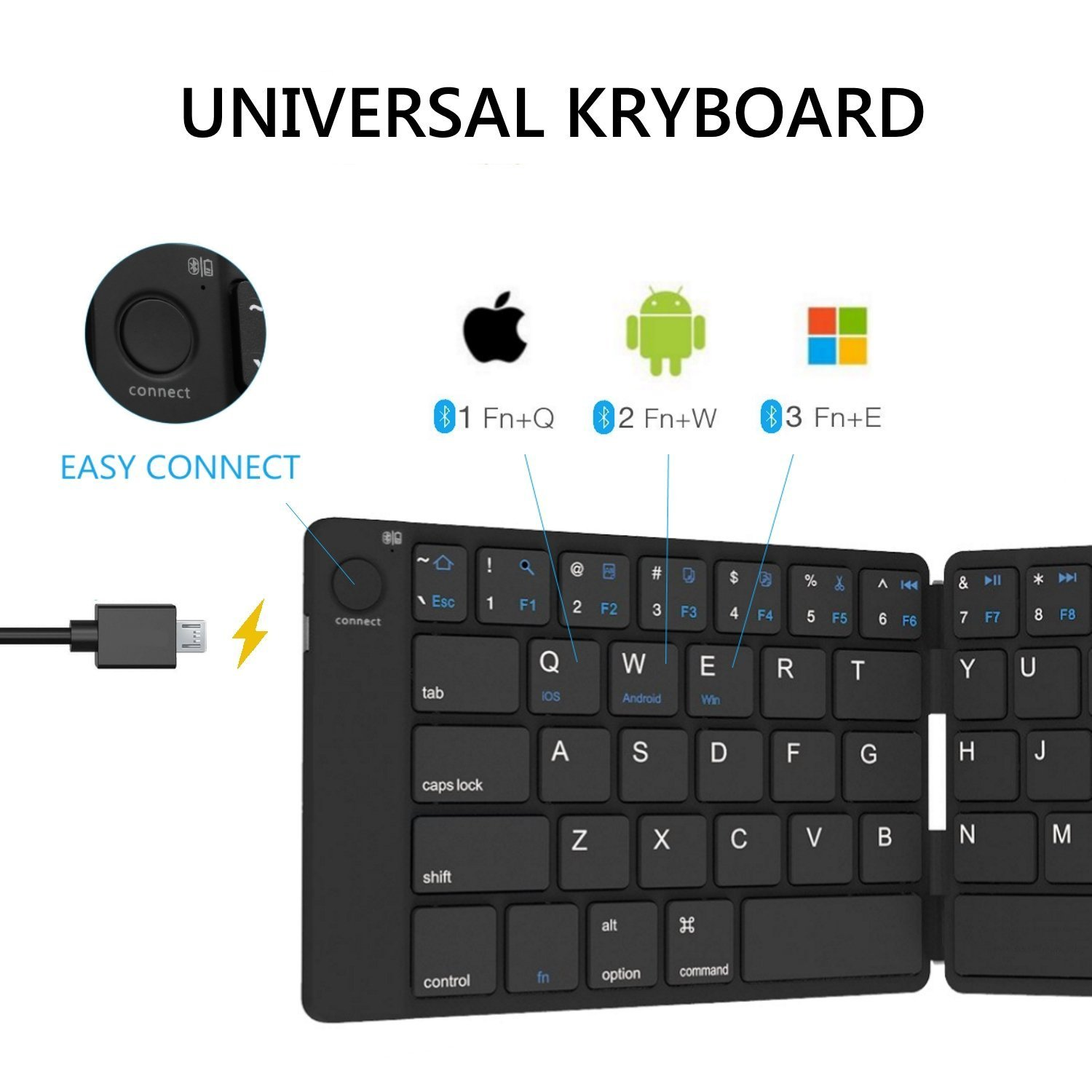 Bluetooth Folding Keyboard Foldable Bluetooth Keyboard Rechargable Full Size Folable Keyboard for IOS Phone Android Smartphone Tablet Windows Laptop by Joyzy (Image #2)