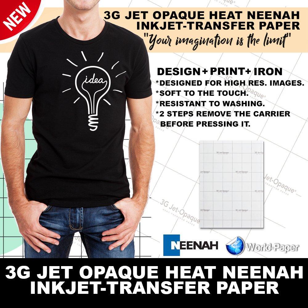 INKJET TRANSFER PAPER FOR DARK FABRIC: NEENAH ''3G JET OPAQUE'' (8.5''X11'') 25Pk :)