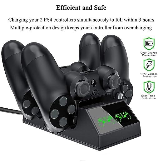 Cargador Mando PS4, KONKY Estación de carga USB Base, Carga ...