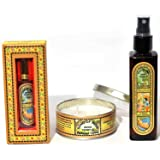 Song of India - India Temple Gift Set #5, Room Freshener Spray, Scented Oil & Candle.