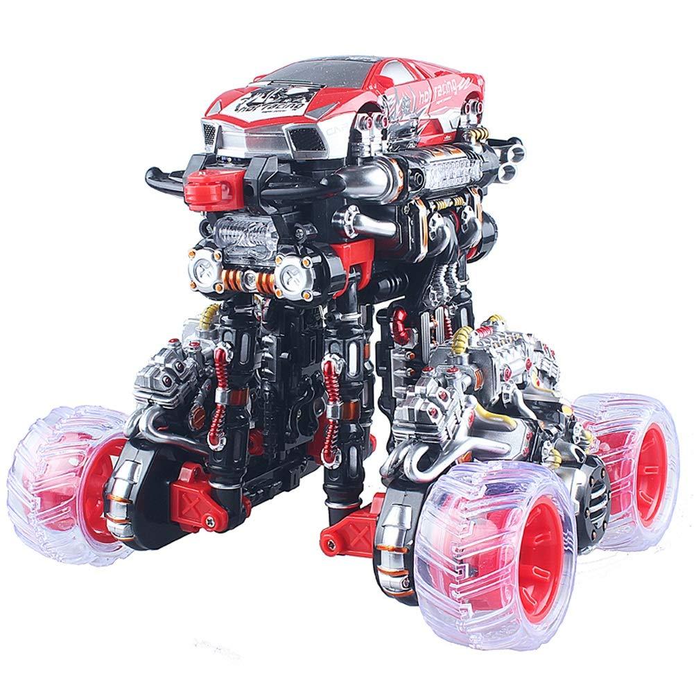 XJZxX 充電リモコン変形スタントカーダンプトラックフリップダンスカーリモコンカー男の子子供のおもちゃ (Color : Red)  Red B07QZBF5YK