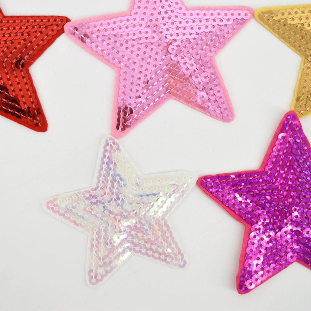 AiSi 14 pezzi assortiti patch-on ricamati a caldo o cuciti con paillettes patch a forma di cuore a forma di stella stoffe applicate per abiti cappello scarpe borsa