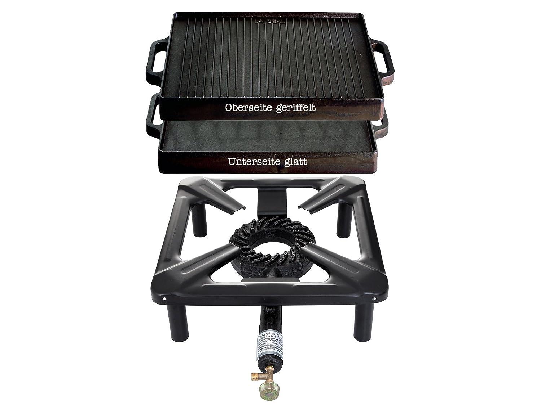 Paella World International Gaskocher Hockerkocher-Set mit Gusseisengrillplatte, Mehrfarbig, 2-teilig PaellaWorld 3030+3232