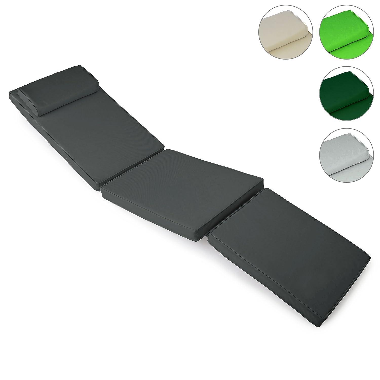 Nexos GL06056 DIVERO Liegenauflage für Deckchair Steamer Sitzpolster für Gartenmöbel Holzliege Liegestuhl – bequem hochwertig robust – anthrazit,