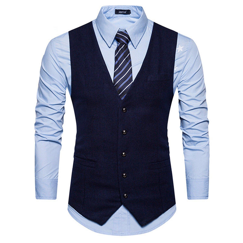 Jwhui Casual Striped Men Vest White Black Gray Dress Suit Vest Men Classic Male Slim Fit Waistcoat Man Navy Blue S