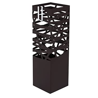 SONGMICS Metal Umbrella Stand Rack, for Canes Walking Sticks, Square Free Standing Umbrella Holder, with 2 Hooks, Entryway, Brown ULUC47Z