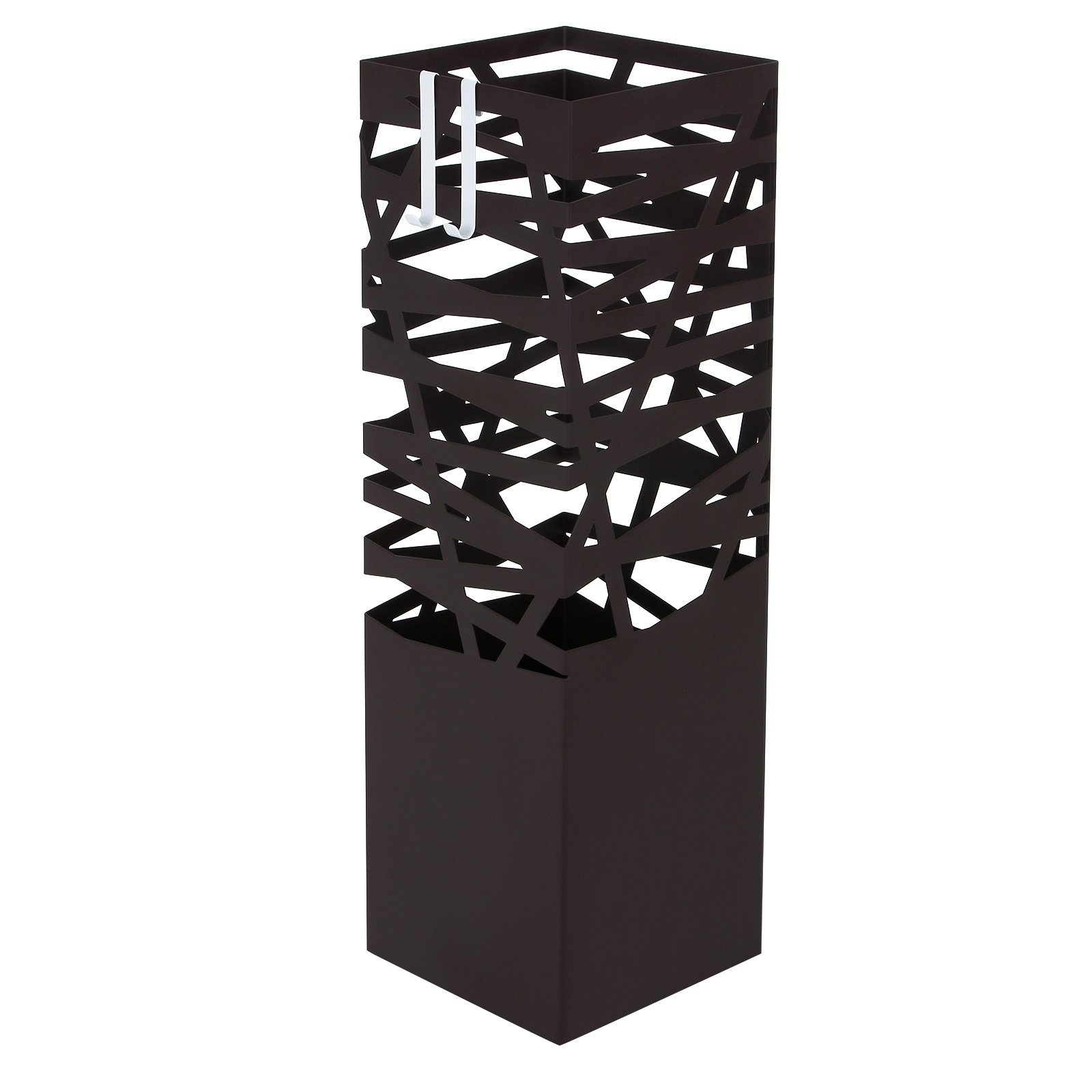 SONGMICS Modern Umbrella Stand Rack Free Standing for Canes/Walking Sticks Square with 2 Hooks Metal Brown ULUC47Z