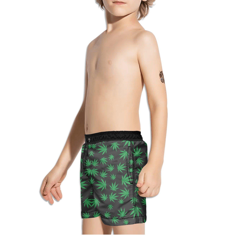 FullBo Weed Leaf Little Boys Short Swim Trunks Quick Dry Beach Shorts